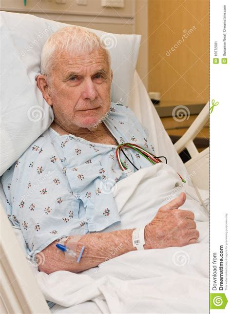 Elderly Hospital Patient In Bed Stock Image - Image of