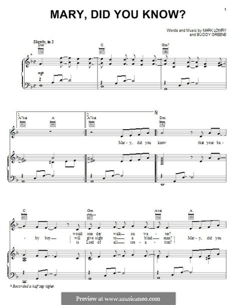 Here's an excellent christmas song that everyone can play this following holiday season. Mary Did You Know by B. Green - sheet music on MusicaNeo
