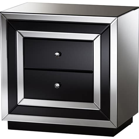 Black Mirrored Nightstand by Cecilia 2 Drawers Nightstand Black And Silver Mirrored