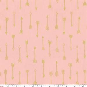 Blush and Gold Arrows Fabric by the Yard Pink Fabric