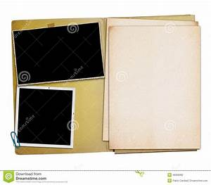 open vintage folder with two old photographs stock photo With best document folder