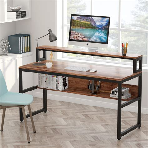 tribesigns computer desk  shelves  inches office