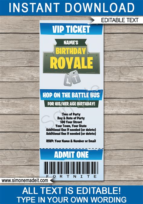 fortnite party printables decorations invitations