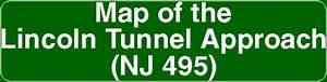 Map Of The Lincoln Tunnel Approach  Nj 495