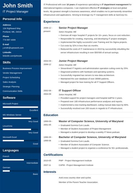 Resume Template Qut by Free Resume Templates Uptowork Cv Resume Template Free