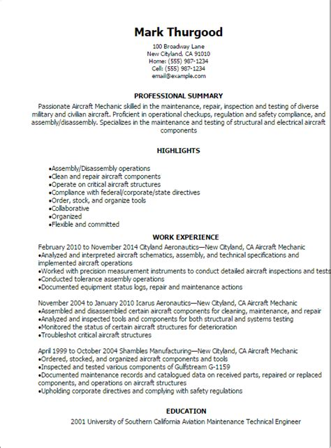 professional aircraft mechanic resume templates to