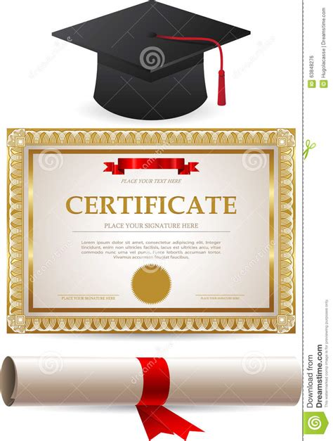 golden certificate diploma  graduation cap stock vector