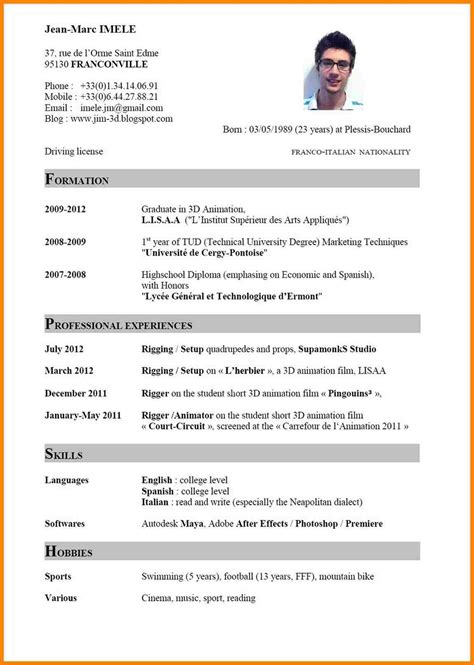 Curriculum Vitae Format Exle by European Curriculum Vitae Format Modelo De Curriculum Vitae