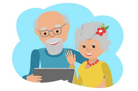 Happy Senior Couple With Tablet. Vector Illustration Cloud