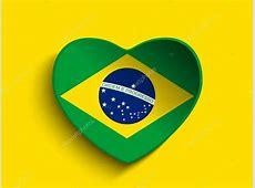 coração com a bandeira do Brasil — Vetores de Stock