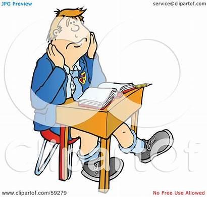 Bored Desk Sitting Boy Clipart Illustration Royalty