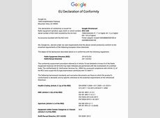 EU Declaration of Conformity 201453EU Chromecast Help