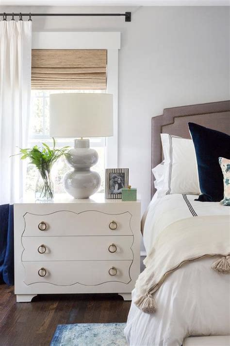 Bed With White Nightstands by White Dresser Nightstand With Blue Banded Curtains