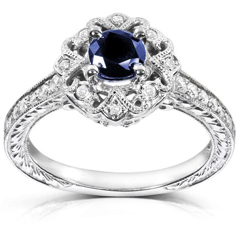 cut sapphire and engagement ring 3 4 carat ctw in 14k wh ebay