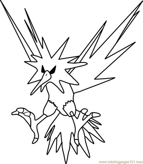 Kleurplaat Zapdos by Zapdos Coloring Pages Printable Free