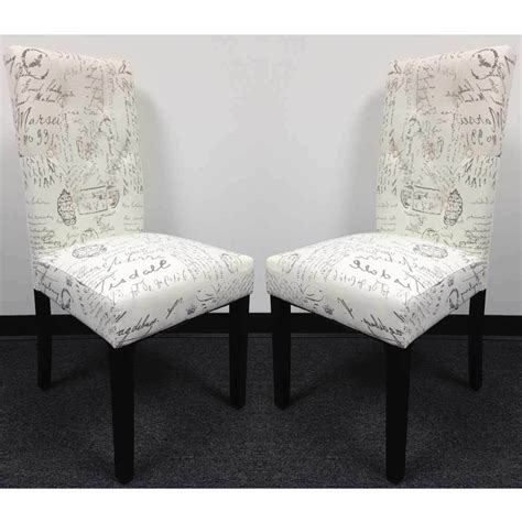 set   dining side chair upholstery french script micro suede print high  ebay