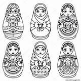 Doll Russian Matryoshka Coloring Nesting Babushka Folk Printable Drawing Illustration Vector Dolls Tattoo Template Drawings Kokeshi Depositphotos Adults Matrioska Da sketch template