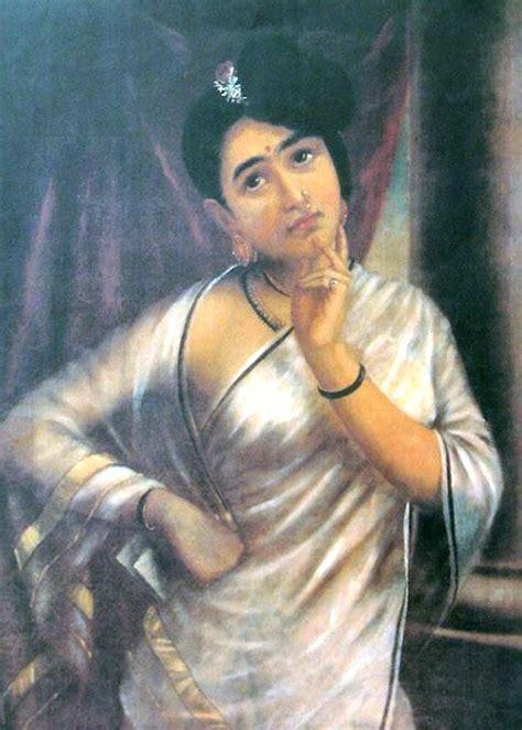 raja ravi varma paintings woman  white saree  prawal