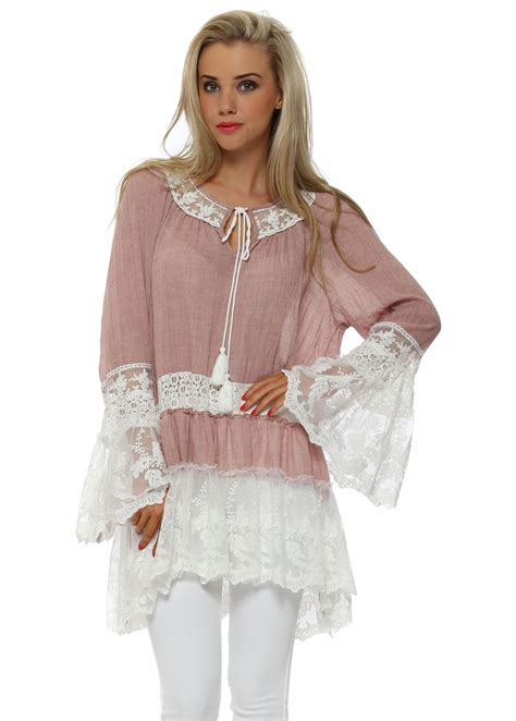Senes Pink Lace Tunic Top