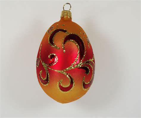 egg quot sunrise quot hand blown glass christmas tree ornament