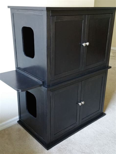 custom litter box cabinets stacked double hand made in usa wood cat litter box