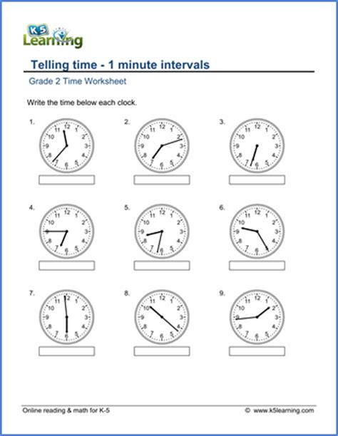 grade 2 math worksheet clock telling time 1 minute
