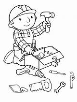 Coloring Builder Bob Tools Construction Printable Drawing Doctor Sheets Printables Utensils Bobo Colouring Cartoon Pdf Burgers Preparing Kitchen Boy Lego sketch template