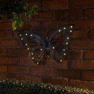 B m cast iron effect solar wall art butterfly garden