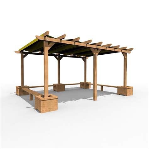 large shaded pergola  seating  planters esp play