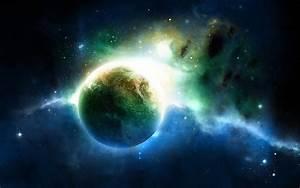 Z wallpaper green blue light planet space