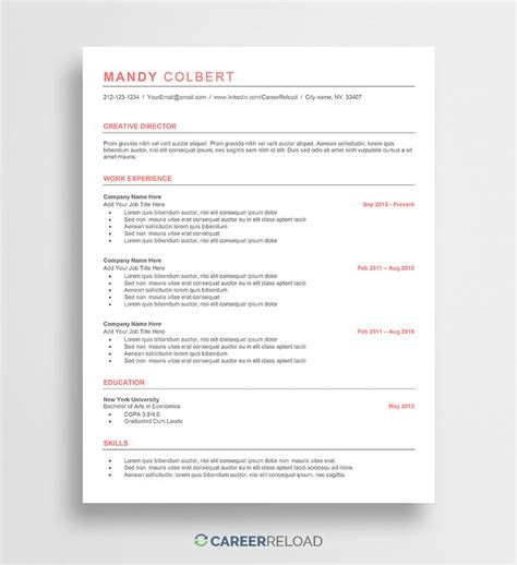 Free Cv Template Word by Free Word Resume Templates Free Microsoft Word Cv Templates