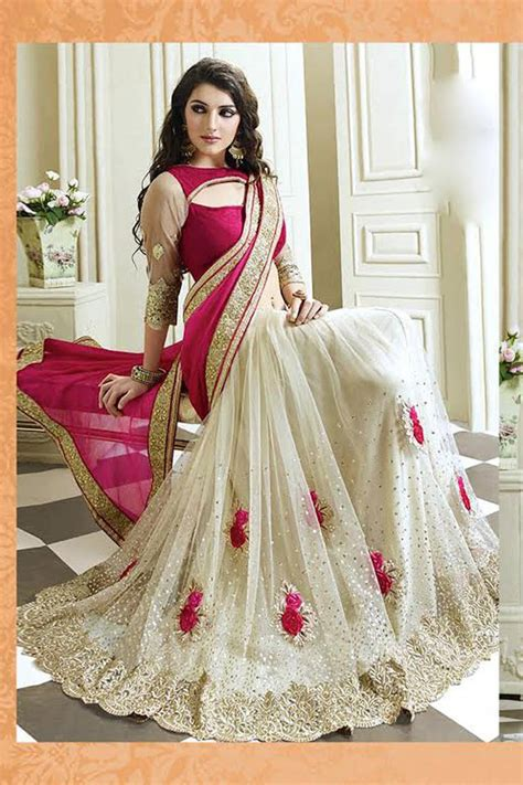 Decorative Wedding Plates by Buy Red Embroidered Non Leather Saree With Blouse Online