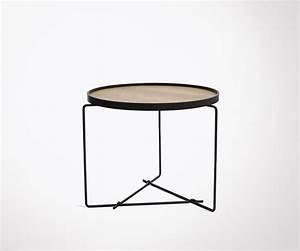 Table Basse Boheme : petite table basse design et moderne forme ronde plateau bois et m tal ~ Teatrodelosmanantiales.com Idées de Décoration