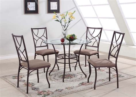 round kitchen table with 4 chairs 5 pc set round glass metal dining room kitchen dinette