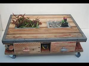 Roue Table Basse : table basse bois recycl palette roulettes t1 2 ~ Edinachiropracticcenter.com Idées de Décoration