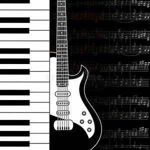 Music Background With Keyboard, Guitar And Stave Notes ...