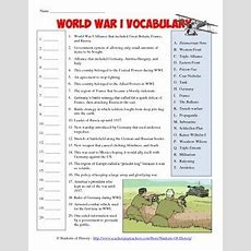 World War I Vocabulary Matching Worksheet By Students Of History