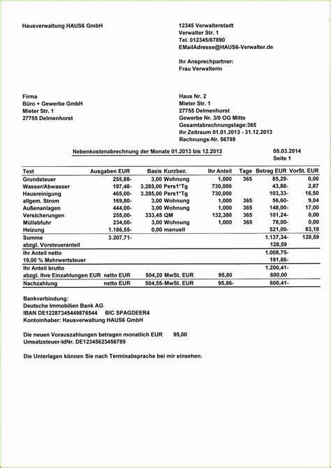 Wohnen Betriebskostenabrechnung by Nebenkostenabrechnung Muster Kostenlos Vermieter In Bezug