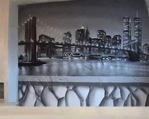 Décoration New York Chambre : chambre ambiance new york realspray d coration fresque graffiti toile ~ Melissatoandfro.com Idées de Décoration