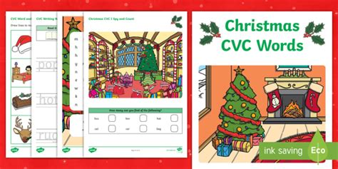 * New * Christmas Cvc Word Activity Booklet  Phase 2, Phonics, Spelling
