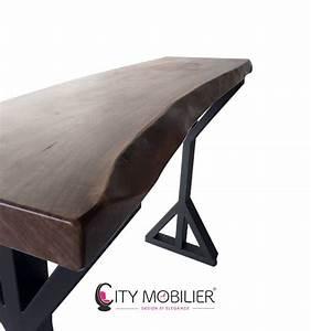 Pied De Table Haute : table haute en bois massif et pied en acier georgia city ~ Dailycaller-alerts.com Idées de Décoration