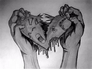 Sad Broken Heart Drawing | easy drawing broken ...