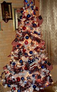 red white and blue christmas tree decorations