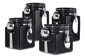 black kitchen canister sets oggi ez grip handle ceramic 4 canister set black