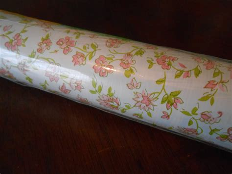 shabby chic drawer liner paper vintage unopened roll shelf paper drawer liner white with pink vines and flowers self adhesive