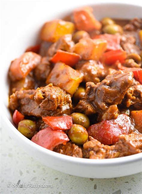 Filipino Beef Kaldereta Recipe Speedyrecipecom