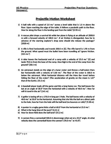 as physics projectile motion worksheet with answers