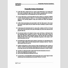 As Physics Projectile Motion Worksheet With Answers Edexcel Ocr Aqa By Lclar  Teaching Resources