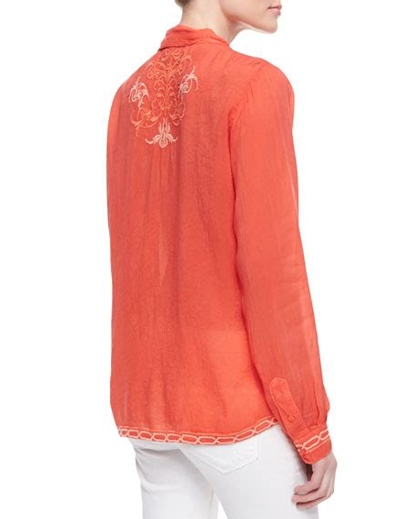 johnny was collection taj embroidered sleeve blouse s