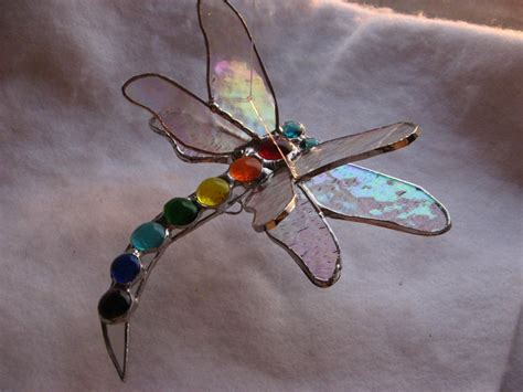 dragonfly stained glass l buy custom double winged stained glass dragonfly in chakra